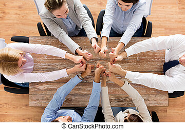 business team showing thumbs up - business, people and team...