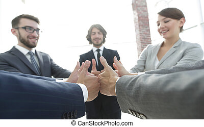 business team showing thumbs up. - closeup. business team...