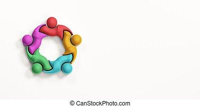 Business Team Showing Unity Together. 3D Render Illustration