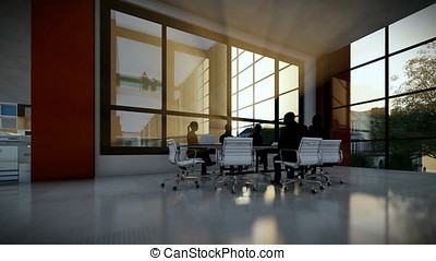 Business team silhouettes in conference room, tilt