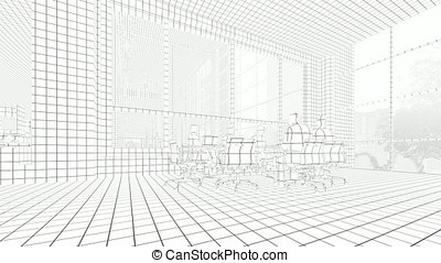 Business team silhouettes meeting, office building, 3d sketch to color