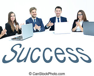 Business team, sitting at athe round table on white background.