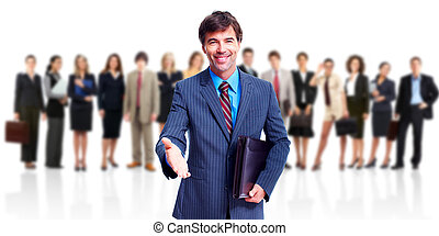 Business team. - Smiling friendly business man. Isolated ...
