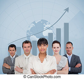 Business team smiling with a globe illustration