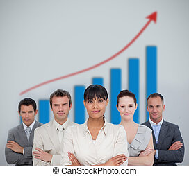 Business team smiling with a graph illustration