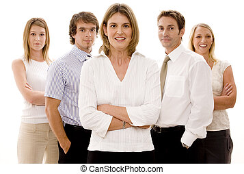 Business Team - Five attractive business men and women...