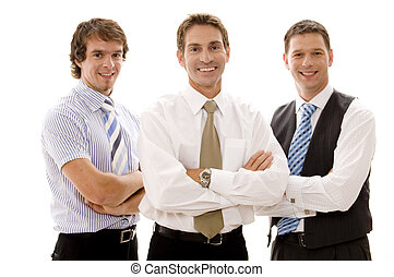Business Team - Three businessmen stand with arms folded...