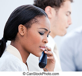 Business team talking on the phone