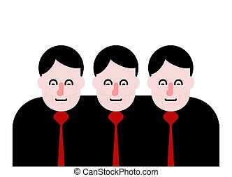 Business team. Three people together. Vector illustration