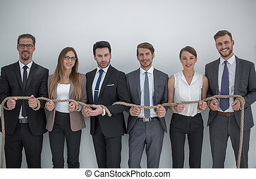 business team tied with sturdy rope .photo with copy space