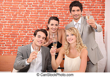 Business team toasting successful year