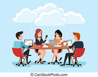 Business team using laptops, business people sharing office documents, chat virtual conference on cloud technology cartoon vector characters