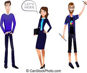Business Team VECTOR Illustration, Characters Set: Businessman, Businesswoman, Designer.
