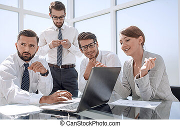 business team waiting for online results