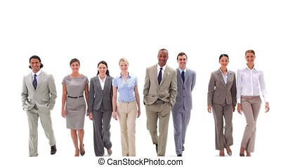 Business team walking against a white background