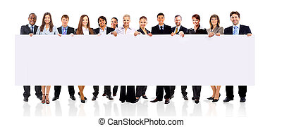 Business team with a banner isolated over a white background...