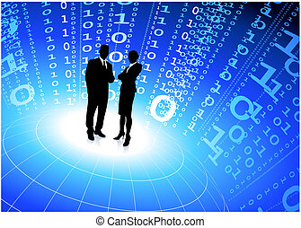 business team with binary code internet background