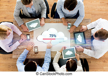 business team with computers cloud computing - business,...