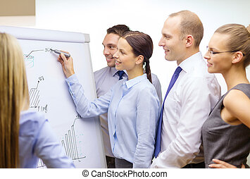 business team with flip board having discussion - business...