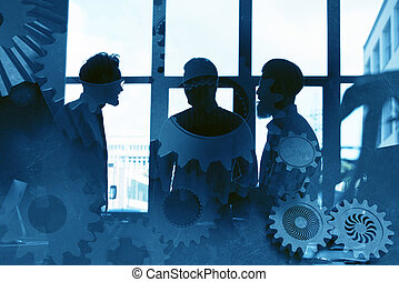 Business team with gears system. Teamwork, partnership and integration concept. double exposure