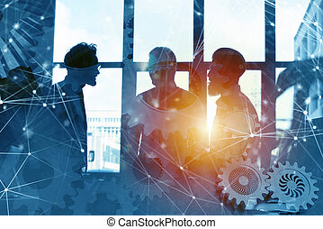 Business team with gears system. Teamwork, partnership and integration concept with network effect. double exposure