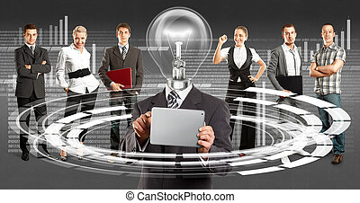 Business Team With Lamp Head - Idea cyber space concept....