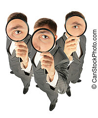business team with magnifiers collage