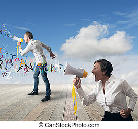 Business team with megaphone