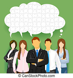 Business Team with Puzzled Chat Bubble - illustration of...