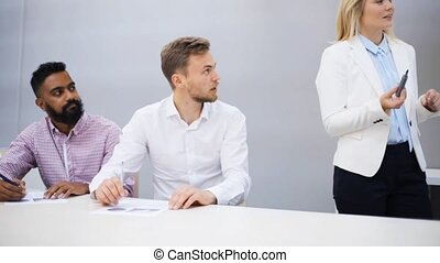 business team with scheme at presentation