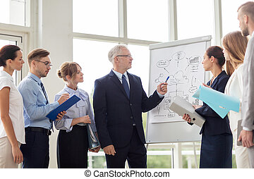 business team with scheme on flip chart at office - people,...