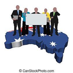 business team with sign on Australia map flag illustration