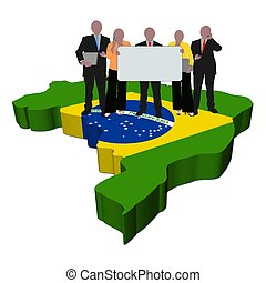 business team with sign on Brazil map flag illustration