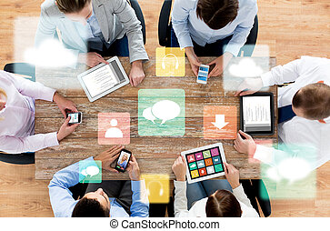 business team with smartphones and tablet pc - business,...