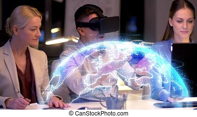 business team with vr headset and earth projection -...