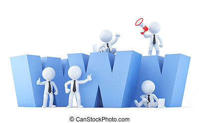 Business team with WWW sign. Isolated. Contains clipping path.