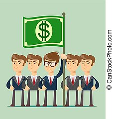 business team work and leadership concept icon