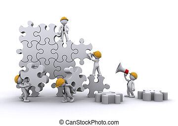 Business team work building a puzzle. Buuilding business concept. Isolated