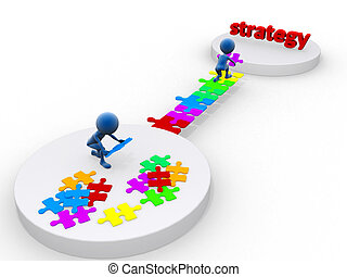 business team work building a puzzle. Business strategy concept. Isolated