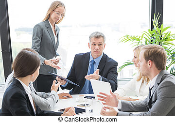 Business team work with documents