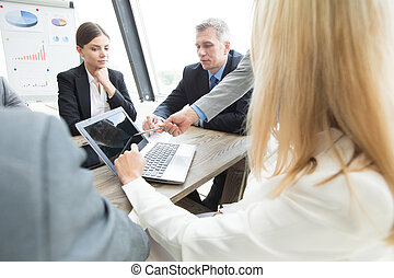 Business team work with laptop