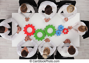 Business team working cohesively