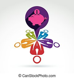 Business team working on personal finances icon with piggy bank, vector conceptual unusual symbol for your design.