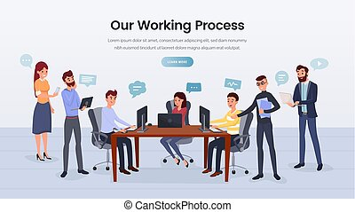 Business team working process landing page