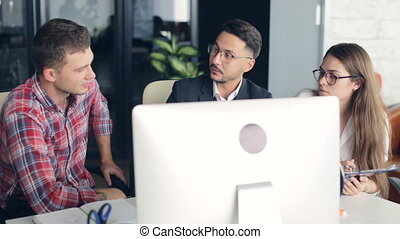 Business team working with new startup project in modern office.