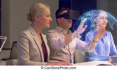 business team working with virtual reality headset