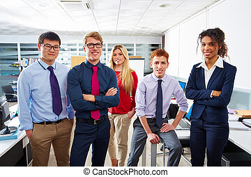 Business team young people standing multi ethnic