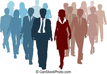 Business teams as competitors or joining resources in company merger as a team