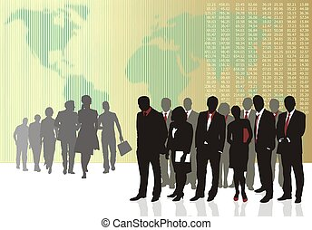 Business teams - Vector illustration of old and young...