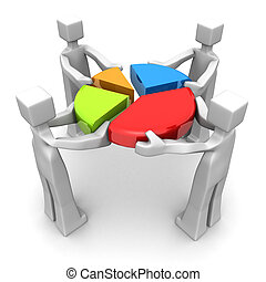 Businessman work together to combine a pie chart 3d illustration